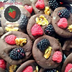 Simple yet delicious these chocolate disks topped with berries and black walnuts make for a perfect snack. Thanks to Chef Chester for making these for the gentlemen ofLambda Chi Alpha at the University of Michigan