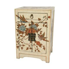 Oriental Furniture Ivory Peaceful Birds End Table Cabinet, Width -... (350 CAD) ❤ liked on Polyvore featuring home, furniture, storage & shelves, cabinets, antique white storage cabinet, door cabinet, asian cabinet, door storage cabinet and flower stem