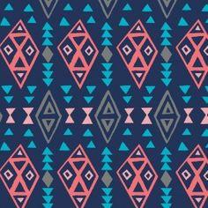 Tissu coton What a gem - Navy tribal x 10 cm