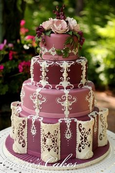 This is a freakin' cool cake! Dusty rose cake with antique lace detail. This is a wedding cake, but it looks like it would be delicious! Beautiful Wedding Cakes, Gorgeous Cakes, Pretty Cakes, Amazing Cakes, Unique Cakes, Creative Cakes, Elegant Cakes, Decoration Patisserie, Bolo Cake