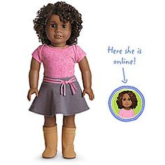 American Girl® Dolls: Dark skin, curly dark brown hair, brown eyes