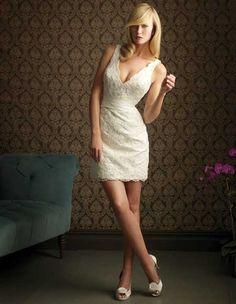 Ideas Wedding Dresses Satin Ivory Allure Bridal For 2019 Short Ivory Wedding Dress, Mini Wedding Dresses, V Neck Wedding Dress, Cheap Wedding Dress, Wedding Dress Styles, Bridesmaid Dresses, Lace Wedding, Wedding Gowns, Wedding Reception