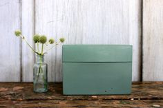 green industrial file box // metal recipe box // 3 by umbrellafant, $9.00