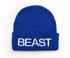 Beanie with word BEAST 3D Embroidered Hat