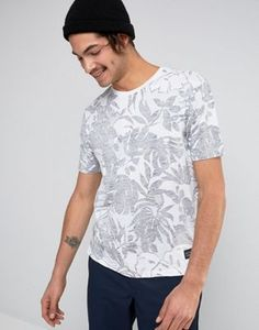 Levis Line 8 Floral Print T-Shirt In Wilderness Bright White