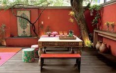 New living room red backyards ideas Outdoor Rooms, Outdoor Dining, Outdoor Gardens, Outdoor Furniture Sets, Outdoor Decor, Design Jardin, Garden Design, Patio Chico, Mexican Garden