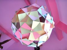 Amazing Paper Ball Lamp / Lantern in Pastel colors, size and colors customizeable Paper Lampshade, Lampshades, Paper Balls, Origami Ball, Chandelier, Paper Light, Crafty Craft, Pastel Colors, Colours