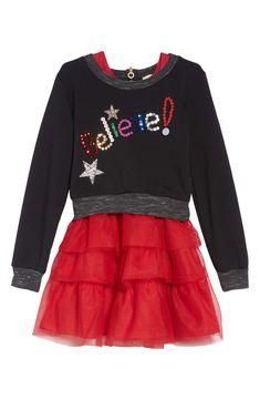 2b8d1e923 Truly Me Believe Sequin Appliqué Sweatshirt & Tulle Dress Set (Toddler  Girls & Little Girls)   Nordstrom