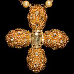 William de Lillo Jewel Encrusted Cross Pendant Necklace. Stunning!!!!
