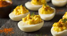 There are endless ways to dress up deviled eggs. No two are exactly alike. Even for novice cooks, deviled eggs present a great opportunity. Healthy Deviled Eggs, Best Deviled Eggs, Deviled Eggs Recipe, Egg Recipes, Appetizer Recipes, Low Carb Recipes, Cooking Recipes, Protein Recipes, Healthy Recipes