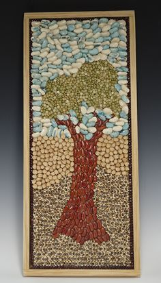 Bean and Seed Mosaic:  (Dried Beans, Peas, Seeds, Wooden Frame - designed and created by Karen J Lauseng