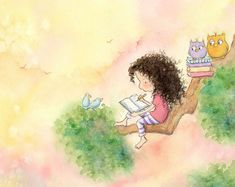 The Girl Who Wrote Stories Art Print by periwinkleandhazel Long Curly Hair, Curly Girl, Curly Blonde, Hot Hair Styles, Curly Hair Styles, Dibujos Cute, Brunette Girl, The Girl Who, Hair Art