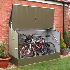 Trimetals Bicycle Storage Shed in green holds up to 3 adult bikes. Made from a special PVC-coated galvanized steel, which is totally maintenance free and fire resistant.