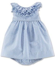 Ralph Lauren Baby Girls' Seersucker Dress - with navy tights and cardigan for winter Baby Outfits, Toddler Outfits, Kids Outfits, Fashion Kids, Little Girl Fashion, My Baby Girl, Baby Girls, Infant Girls, Seersucker Dress
