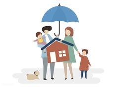 Illustration of home insurance protectio. Compare Insurance, Home Insurance, Save Earth Drawing, Life Insurance Corporation, Umbrella Insurance, Kids Around The World, Family Illustration, Home Warranty, Dogs And Kids