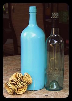spray painted wine bottle for decor!