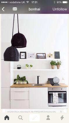 Berlin apartment small kitchen restyled with sculptural woollen lamps. Apartment Kitchen, Kitchen Interior, Kitchen Decor, Kitchen Pantry, Design Kitchen, Kitchen Layout, Bedroom Apartment, Kitchen Ideas, Home Design Decor