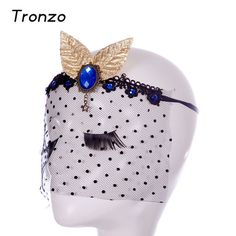 Tronzo Masquerade Masks Sapphire Gold Leaf Vintage Wave Point Party Veil Lace Sexy Mask Wedding Party Decoration Free Shipping