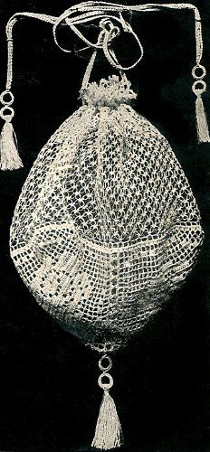 Vintage Crochet PATTERN to make - Antique Evening Filet Crochet Opera Bag. NOT a finished item. This is a pattern and/or instructions to make the item only. - I Crochet World Filet Crochet, Crochet Shell Stitch, Crochet Cross, Crochet Handbags, Crochet Purses, Crochet Bags, Crochet Pouch, Vintage Knitting, Vintage Crochet