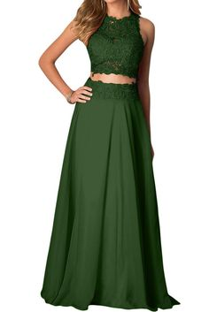 Vienna Bride Captivating Red Lace Evening Gown Two Piece Prom Party Formal Dress-24W-Dark Green