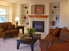 Painted the ugly gold fireplace doors Fireplace Doors, Paint Fireplace, Brick Fireplace Makeover, Brown Sofa, Home Renovation, Family Room, New Homes, Modern, House