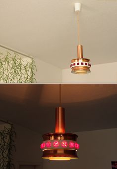 Stunning GDR Space Age UFO Lamp - Mid Century Atomic Modern Copper Pendant Ceiling mcm Germany Light Lighting - 60s