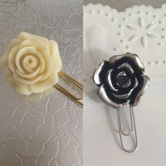 Large Rose Planner Clips by BookmarkBitches on Etsy