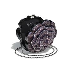 Evening Bag - Black & Purple - Resin, Strass & Silver-Tone Metal - Other view - see full sized version Luxury Purses, Luxury Bags, Luxury Handbags, Handbags On Sale, Purses And Handbags, Chain Shoulder Bag, Cute Bags, Chanel Handbags, Beautiful Bags