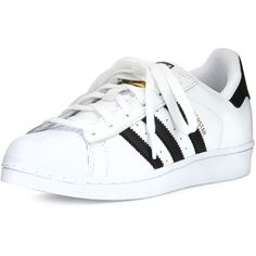 adidas Superstar Classic Sneaker (3,875 DOP) ❤ liked on Polyvore featuring shoes, sneakers, leather trainers, lace up shoes, black and white striped shoes, adidas trainers and black and white shoes