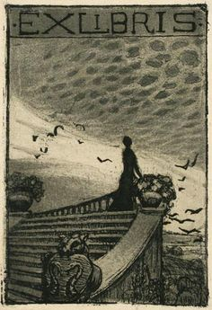Unidentified Artist. Woman on a Staircase. Ex Libris. Etching and aquatint. Crack in paper along left side of plate mark. 3-1/2 x 2-3/8 inches. 12606