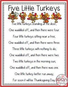 5 Little Turkeys Thanksgiving Activities Kindergarten