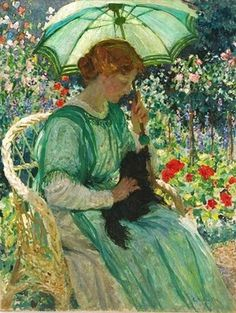 ⊰ Posing with Posies ⊱ paintings & illustrations of women & children with flowers - The Green Parasol 1912 Emanuel Phillips Fox - Australian artist 1865 - 1915