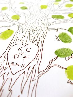 Guestbook alternative, thumbprint tree have guests sign name by their thumbprint Wedding Tree Guest Book, Guest Book Tree, Tree Wedding, Guest Books, Wedding Book, Wedding Crafts, Diy Wedding, Rustic Wedding, Wedding Ideas