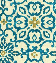 Home Decor Print Fabric-HGTV HOME Souvenir Scroll Lagoon recovering chairs
