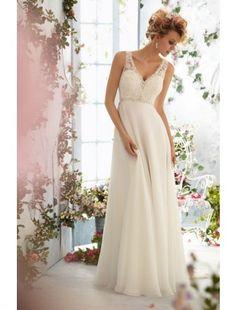 A line V neck Chiffon and Lace Wedding Dress - Beach Wedding Dresses - Wedding Dresses - CDdress.com