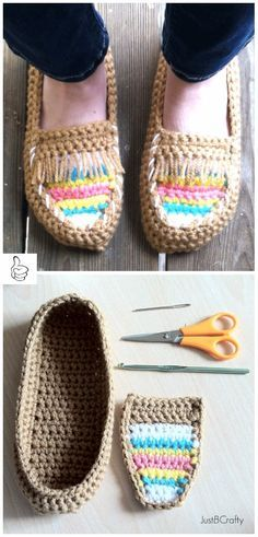 34b46644114e Crochet Women Slippers Shoe Patterns - Crochet Tribal Moccasin Slippers  Free Pattern