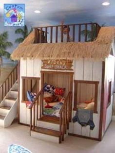 buy a loft bed and make it into a surf shack. awesome kids room for my coastie kids Small Woodworking Projects, Kids Bunk Beds, Loft Beds, Surf Shack, Awesome Bedrooms, Dream Rooms, Kid Spaces, My New Room, Play Houses
