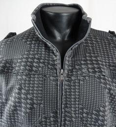 ECKO Unltd Mens M Jacket Full Zip Hounds Tooth Epaulets Black Gray LS Fitted VGC #EckoUnltd #FlightBomberEpaulets