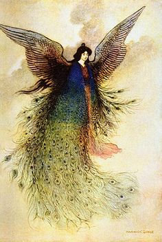 The Moon Maiden - illustration by Warwick Goble to Green Willow and Other Japanese Fairy Tales: I love anything with peacock feathers Art And Illustration, Fantasy Kunst, Fantasy Art, Georg Christoph Lichtenberg, Warwick Goble, Art Magique, Fairytale Art, Inspiration Art, Oeuvre D'art
