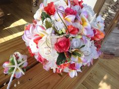 Seaside Bridal Bouquet of Plumeria by VictoriaGreenFlowers on Etsy