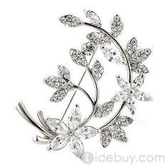 クリアジルコンファッションレディースブローチピン付き優雅な銀色葉合金