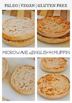 "Gluten free english muffins 3 Minute Grain Free Microwave English Muffin! ""A Microwave English Muffin recipe which is ready in 3 minutes- #GlutenFree #Vegan and#Paleo options- Tastes BETTER than the original!"" 2 T almond flour 1/2 tsp baking powder 2 T canned unsweetened pumpkin 1 Large egg or 2 egg whites 1-2 T liquid of choice (I used almond milk) Cinnamon Sea Salt"