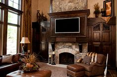 Beautiful family room--love the dark brown, so sophisticated yet cozy
