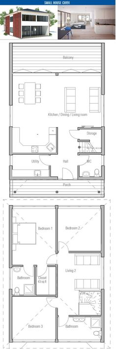 Small House Plan with affordable building budget, two floors, three bedrooms, two living areas. Floor area: 1453 sq ft, Cost to Build: from $ 110 000. Floor Plan. Tiny House, Floors Plans, Tiny Lot, House Plans Small, Floor Plans, Floorplans, Small House Plans, Small Houses, Design