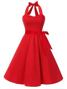 4850447e8e2e5b Vintage Halter Lace Up Backless Skater Dress