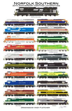 Here is the poster of the twenty Norfolk Southern Heritage locomotives that I designed.
