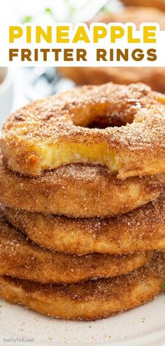 These Pineapple Fritter Rings are a delicious combination of a donut shop apple fritter and an onion ring, but with pineapple! Use fresh fruit in the summer and canned fruit when it's not in season, so you can make this easy dessert treat all year round!