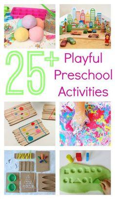 25 Great Preschool Activities plus 10 printables and links to 50 more activities!  It's huge!