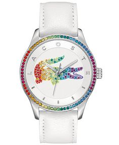 The treasure at the end of the rainbow: a Victoria collection watch styled with Lacoste's iconic details and shimmering accents. | White leather strap | Round stainless steel case, 40mm, rainbow cryst
