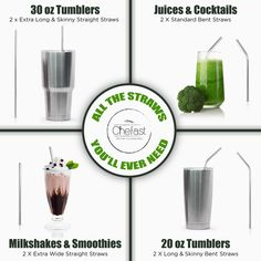 Chefast Stainless Steel Drinking Straws - Combo Kit - Reusable Metal Straws for Everything From 30 oz Yeti Tumblers to Thick Smoothies - Cleaning Brushes, Silicone Rings, and Long Case Included Yeti Tumbler 30 Oz, Skinny To Fit, Silicone Rings, Metal Straws, Stainless Steel Straws, Free Advertising, Health And Fitness Tips, Simple Pleasures, Brush Cleaner